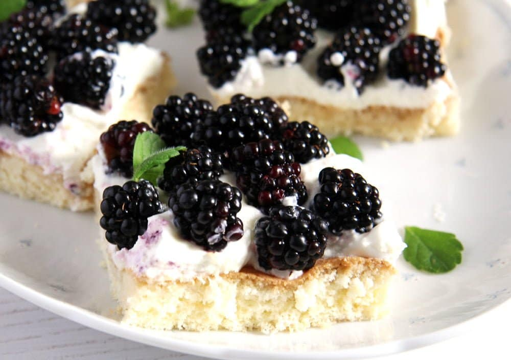 fresh blackberry cake with whipping cream slices