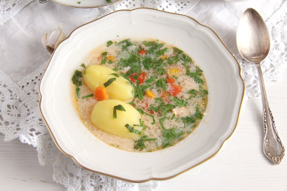 fish soup dobrogea Fish Soup with Potatoes and Garlic Sauce