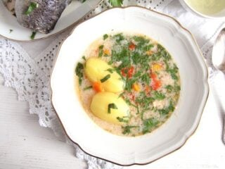sweet water fish soup with potatoes