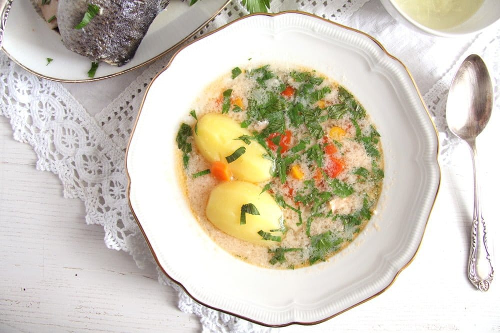 Fish Soup with Potatoes and Garlic Sauce
