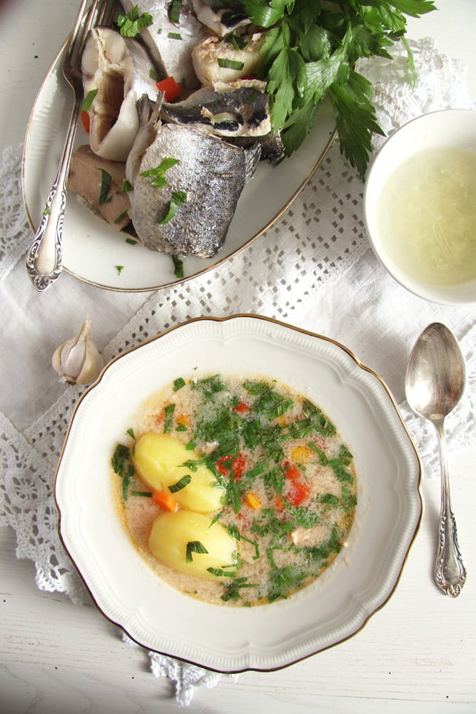 fish soup zander Fish Soup with Potatoes and Garlic Sauce