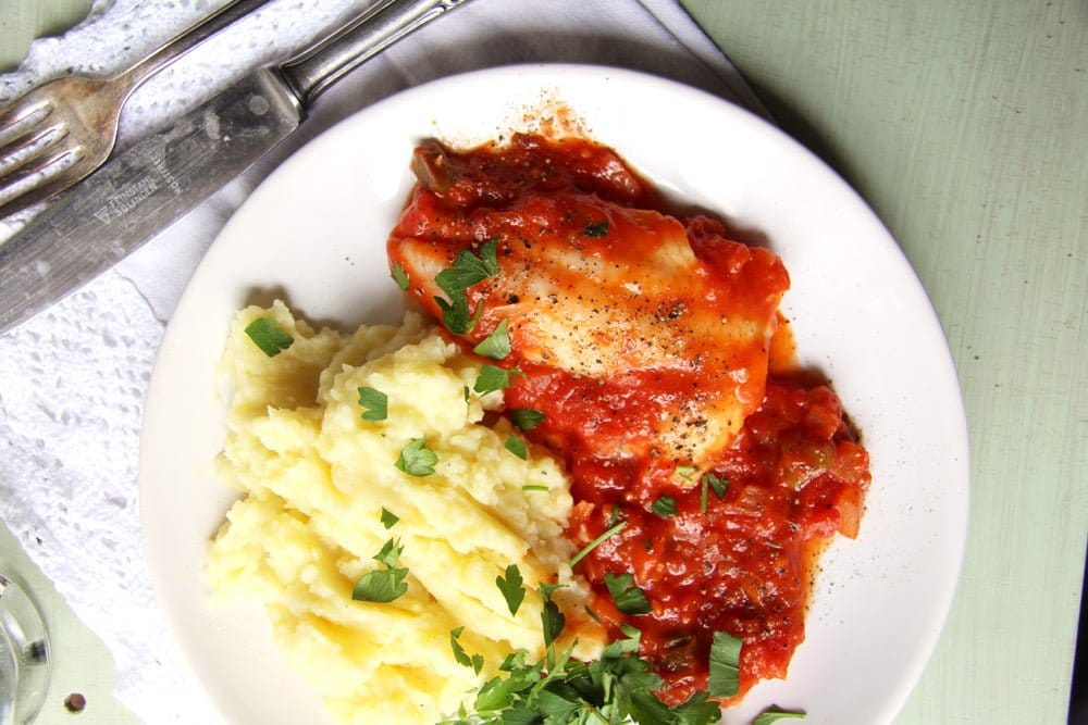 Easy Skillet White Fish Fillet in Tomato Sauce