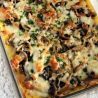 polenta cheese and mushroom bake overview shot of the baking dish