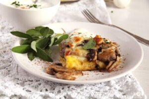 mushroom polenta sage 300x200 Mushroom Polenta Casserole with Cheese and Sage