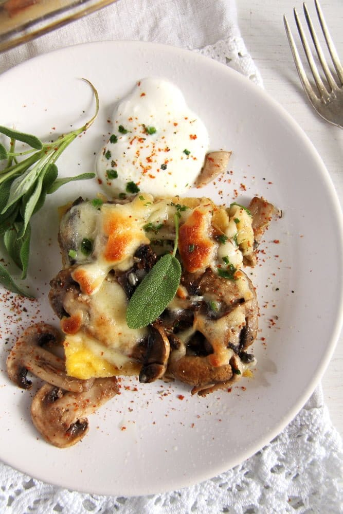 mushroom polenta Mushroom Polenta Casserole with Cheese and Sage