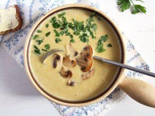 bowl of creamy homemade mushroom soup