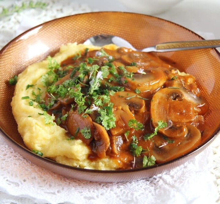 mushroom main dish in a bowl