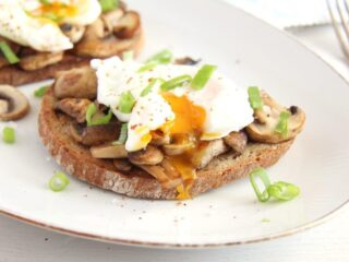 garlic mushroom toast with poached eggs