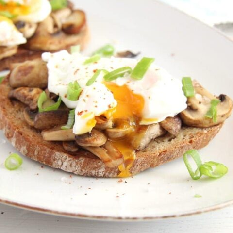 Garlic Mushroom Toast with Poached Egg