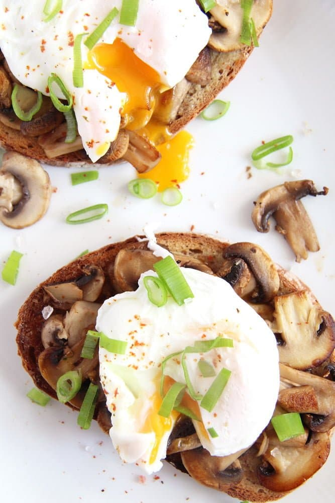 sourdough slice with mushrooms and poached egg