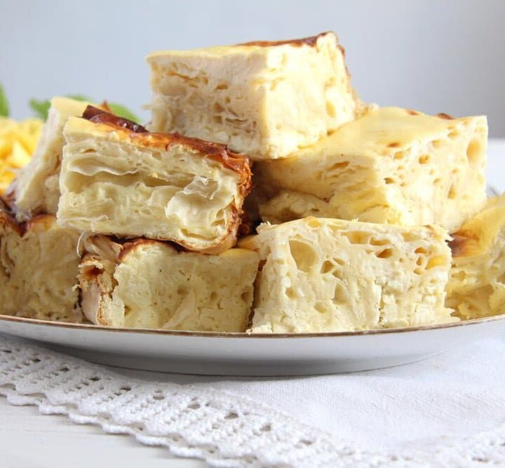 romanian savory cheese pie with feta and pastry