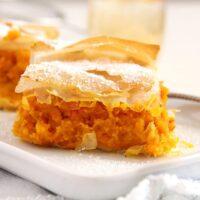 skinny filo pumpkin pie sliced on a platter