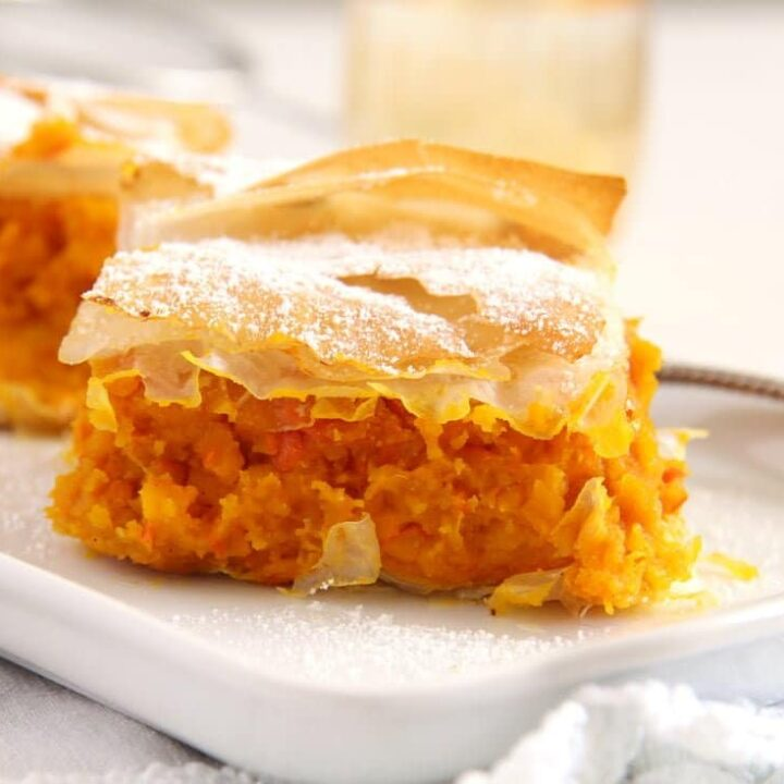 skinny filo pumpkin pie sliced on a platter
