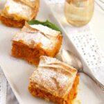 filo pumpkin pie sliced on a platter