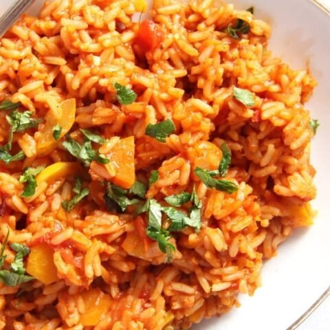 tomato rice 480x480 Vegan Rice with Tomatoes, Zucchini and Carrots