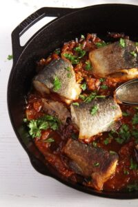 trout 200x300 Aromatic Skillet Trout with Onions and Whole Peppercorns