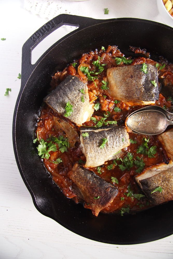 trout onions skillet Aromatic Skillet Trout with Onions and Whole Peppercorns