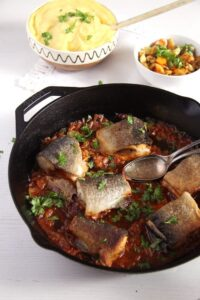 trout skillet 200x300 Aromatic Skillet Trout with Onions and Whole Peppercorns
