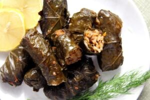 vine leaves rice 300x200 Vegan Stuffed Vine Leaves with Rice and Mushrooms