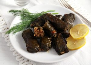 vine leaves vegan 300x217 Vegan Stuffed Vine Leaves with Rice and Mushrooms