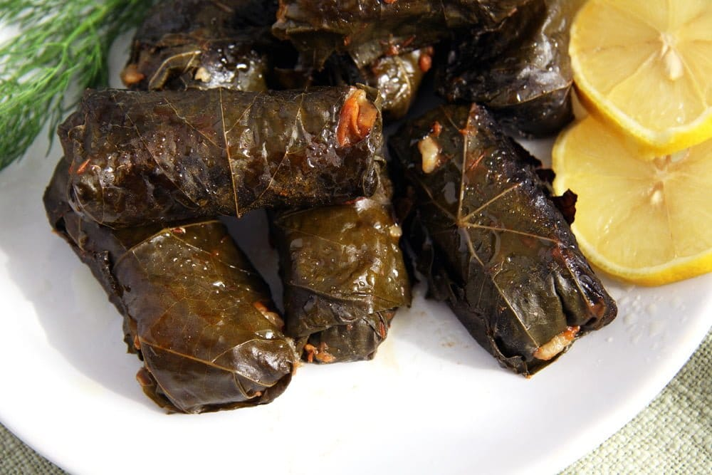 vegan vine leaves rolls with mushrooms and rice