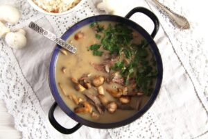 fricassee turkey leftovers 300x200 Quick Fricassee with Leftover Turkey and Mushrooms