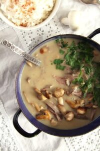 fricassee turkey romanian 200x300 Quick Fricassee with Leftover Turkey and Mushrooms