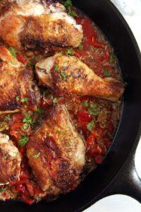 gypsy chicken garlic sauce 200x300 Skillet Chicken in Garlic and Roasted Pepper Sauce – Gypsy Recipe