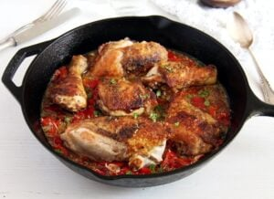 gypsy chicken peppers 300x218 Skillet Chicken in Garlic and Roasted Pepper Sauce – Gypsy Recipe
