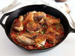gypsy chicken cooked in cast iron skillet