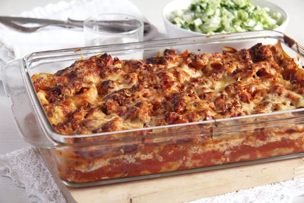 low-fat lasagna with turkey, cream cheese and cottage cheese