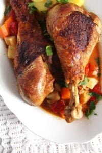 turkey legs vegetables 200x300 Oven Roasted Turkey Drumsticks Recipe with Vegetables