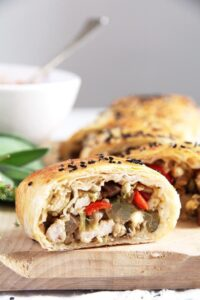 yufka roll chestnuts 200x300 Yufka or Filo Rolls with Chestnuts, Leftover Turkey and Herbs
