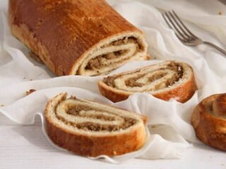 beigli or hungarian nut roll sliced on a the table