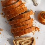 completely sliced loaf of hungarian beigli
