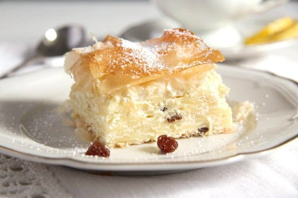 vargabeles hungarian sweet noodle pie with rainsins on a small plate