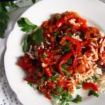 letscho recipe with rice on a plate