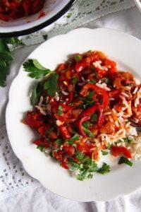 Hungarian Lecso edited 3 200x300 Hungarian Pepper and Tomato Stew – Vegan Lecso Recipe