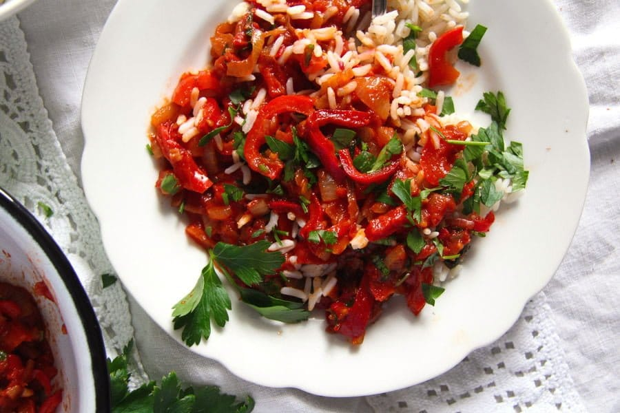 Vegan Hungarian Lecso with rice