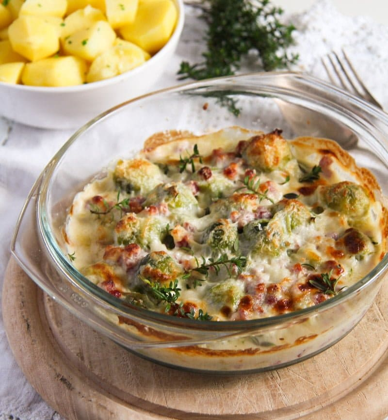 Easy Brussels Sprouts Bake with Bacon and Cheese Sauce