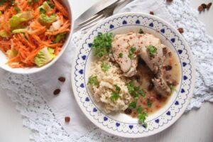 chicken raisins ed 4 300x200 Poached Chicken in White Sauce with Raisins and Rice
