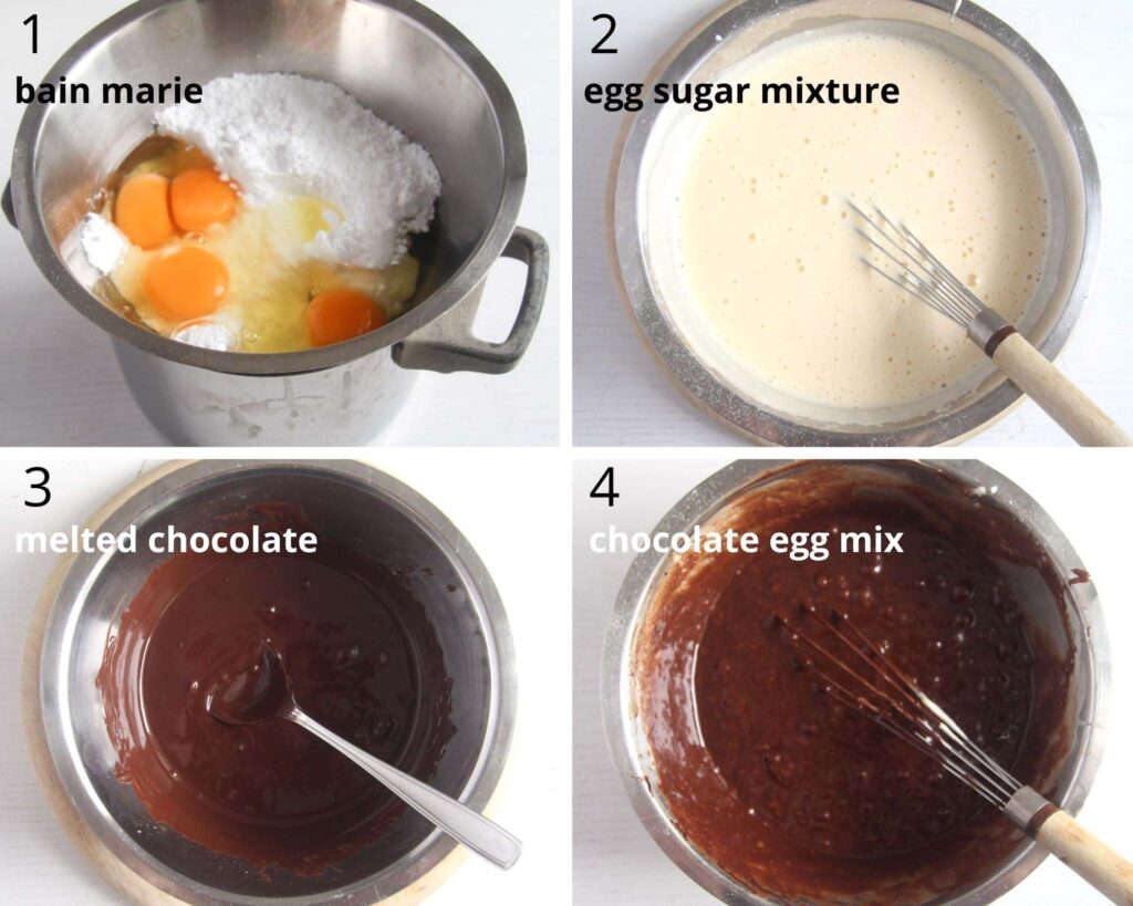 collage of four pictures of mixing eggs and sugar in bain marie, melting chocolate and mixing the two together.