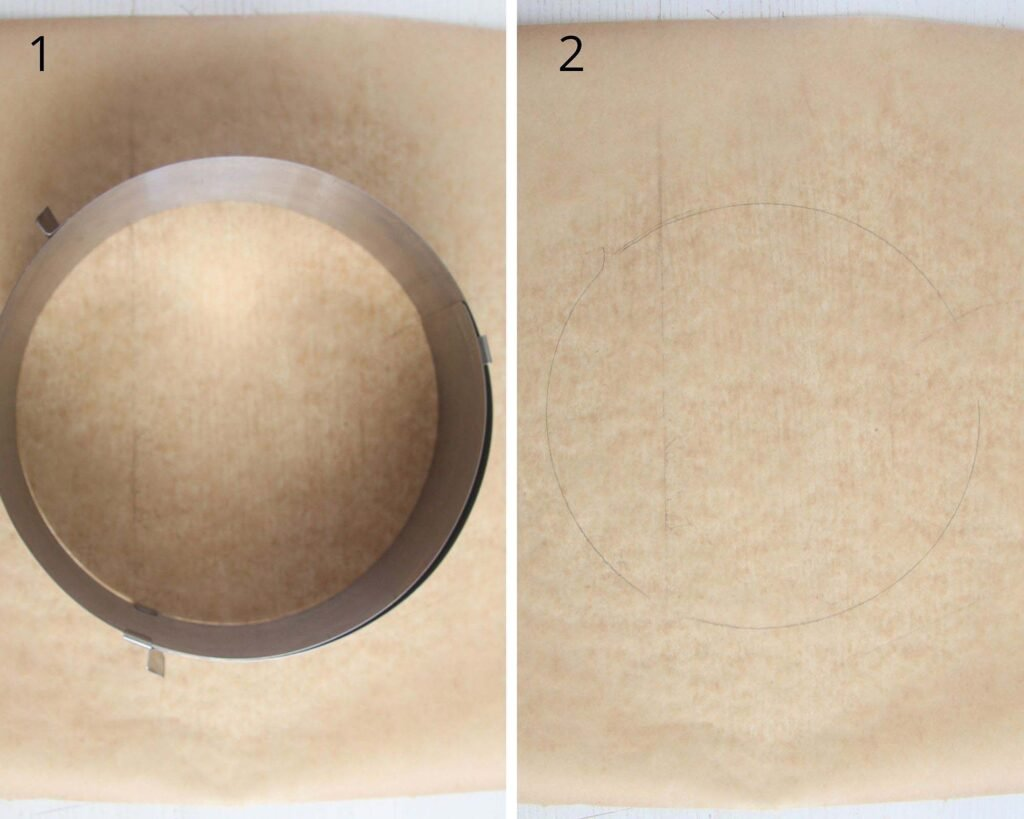 collage of two picture of drawing circles on parchment paper with a cake ring.