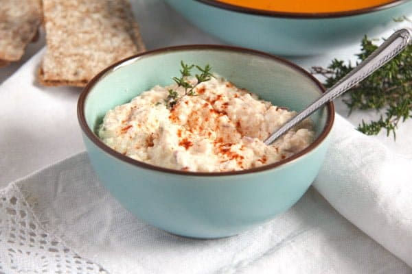 feta cottage cheese dip in a small blue bowl