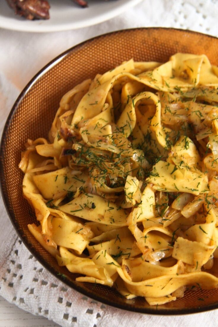 hungarian cabbage and noodles, Hungarian Cabbage and Noodles (Haluski)