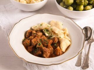 hungarian pörkölt with nokedli - pork stew with dumplings