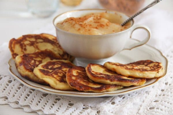 potato pancakes or fritters with applesauce