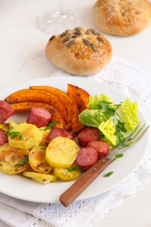 Roasted Potatoes Pumpkin and Sausage Sheet Pan Dinner