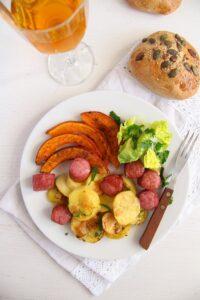 pumpkin potato sausage 4 200x300 Roasted Potatoes Pumpkin and Sausage Sheet Pan Dinner