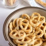 Romanian caraway pretzels with feta cheese in a bowl